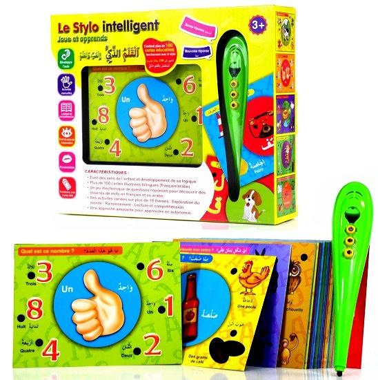 Le Stylo intelligent pour enfant : Joue et apprend avec plus de 100 cartes illustrées bilingues (français/arabe) pour éveiller l'enfant