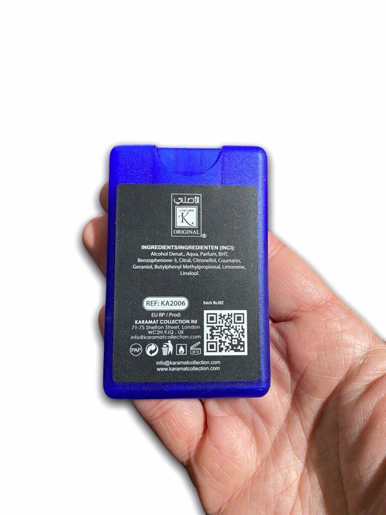 Pocket spray 20ml Blue Musk est composé d'eau de parfum. Le format de poche extra plat 20ml est très pratique. Odeur Fraiche.
