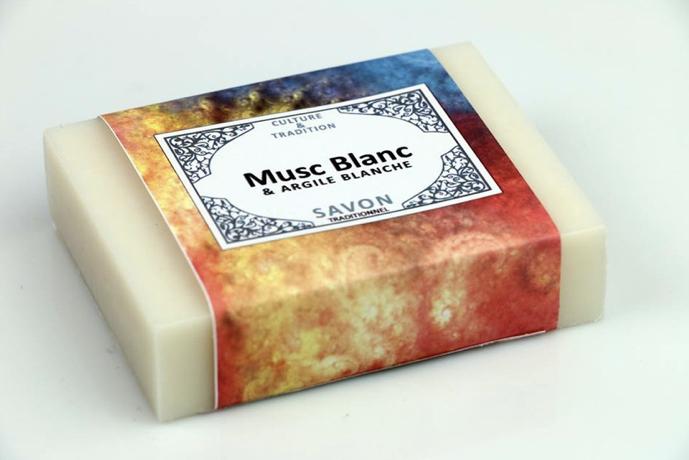 Savon Musc Blanc & Argile Blanche grand classique de la parfumerie orientale avec les bienfait de l'argile blanche: combinaison parfaite
