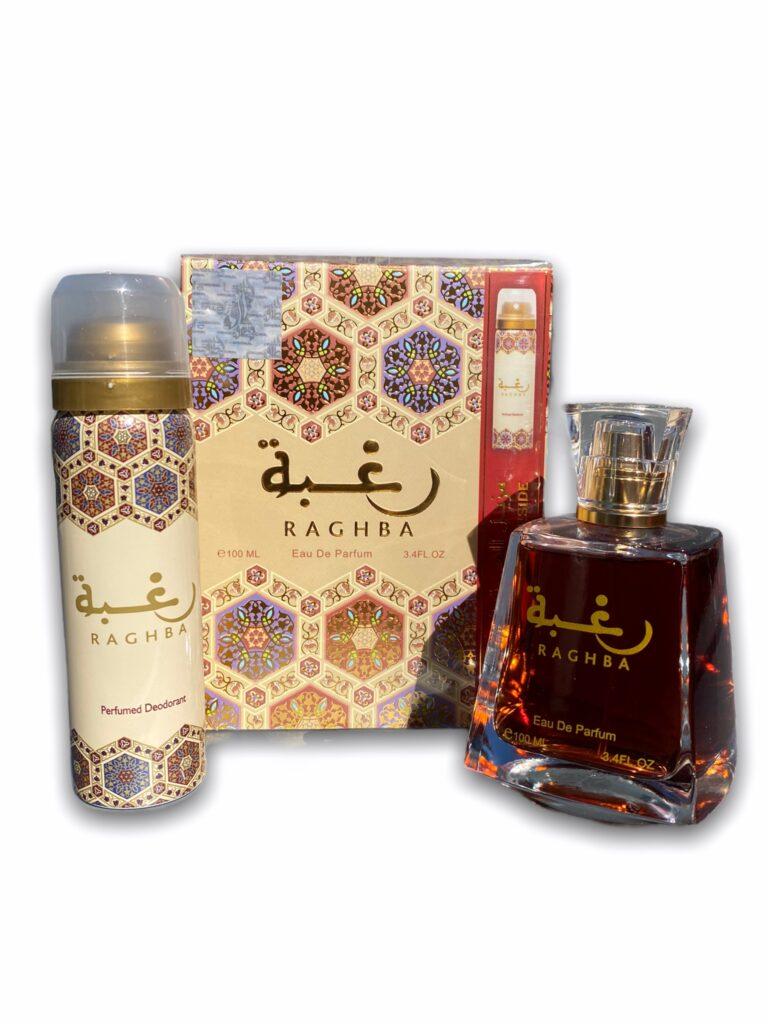Coffret Raghba Parfum 100ml + Déodorant 50ml de la prestigieuse maison de parfumerie émiratie Lattafa est un parfum aux senteurs orientales