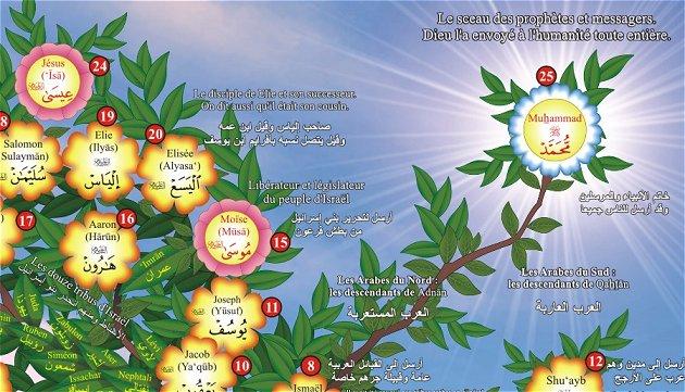 Poster : L'arbre généalogique des prophètes grand format idéale pour décorer la chambre de vos enfants de manière ludique et profitable