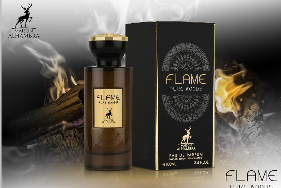 Flame Pure Woods 100ml - Alhambra est une Eau de Parfum pour homme de la prestigieuse Maison de Parfumerie Emirienne Alhambra.