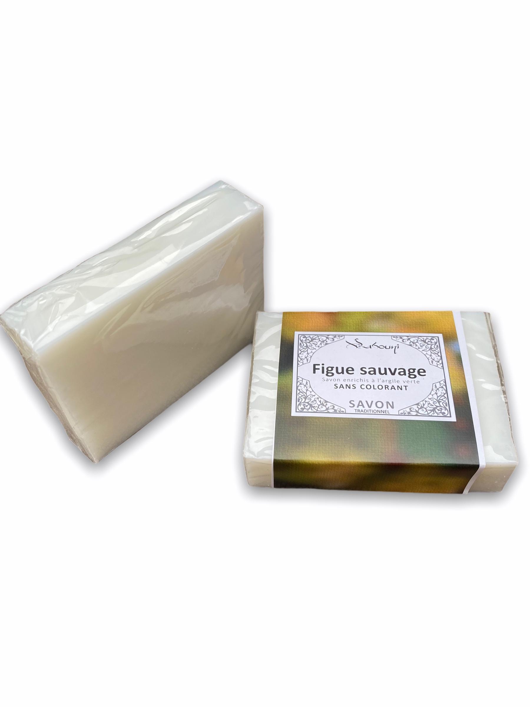 Savon Figue Sauvage à l'Argile Verte sans colorant à d'excellente vertus pour votre peau et un parfum original fruité