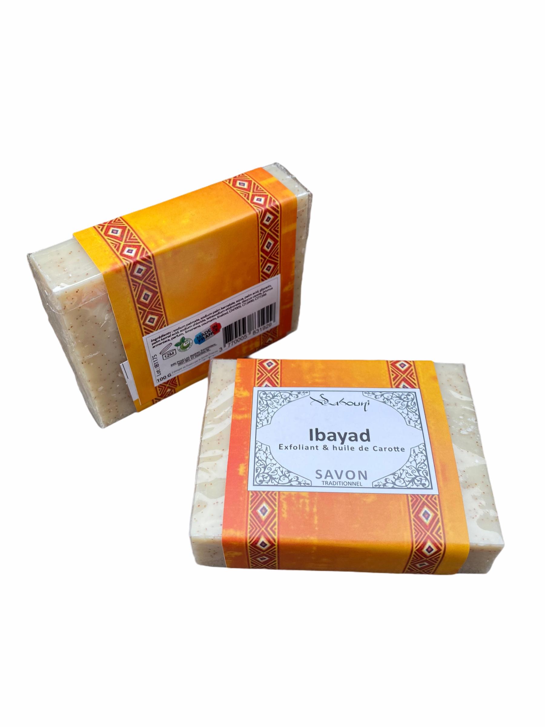 Savon Ibayad Exfoliant à l'huile de Carotte pour le corps et le visage est enrichi à l'huile de carotte qui favorise l'effet bonne mine