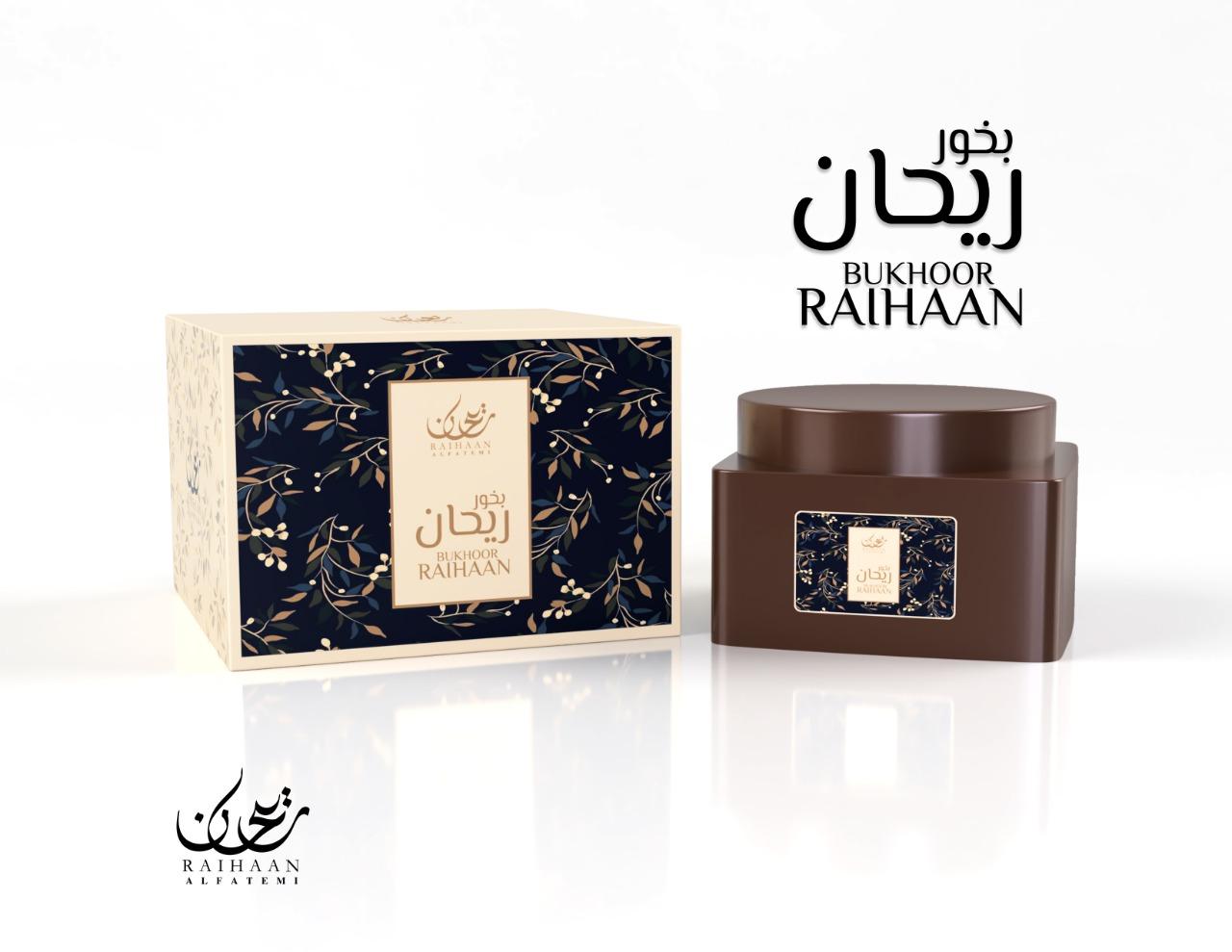 Bukhoor Raihaan Al Fatemi fabriqué à partir de copeaux de bois d'agar naturel et imbibé d'huiles parfumées odorantes.Contenance: 70gr.