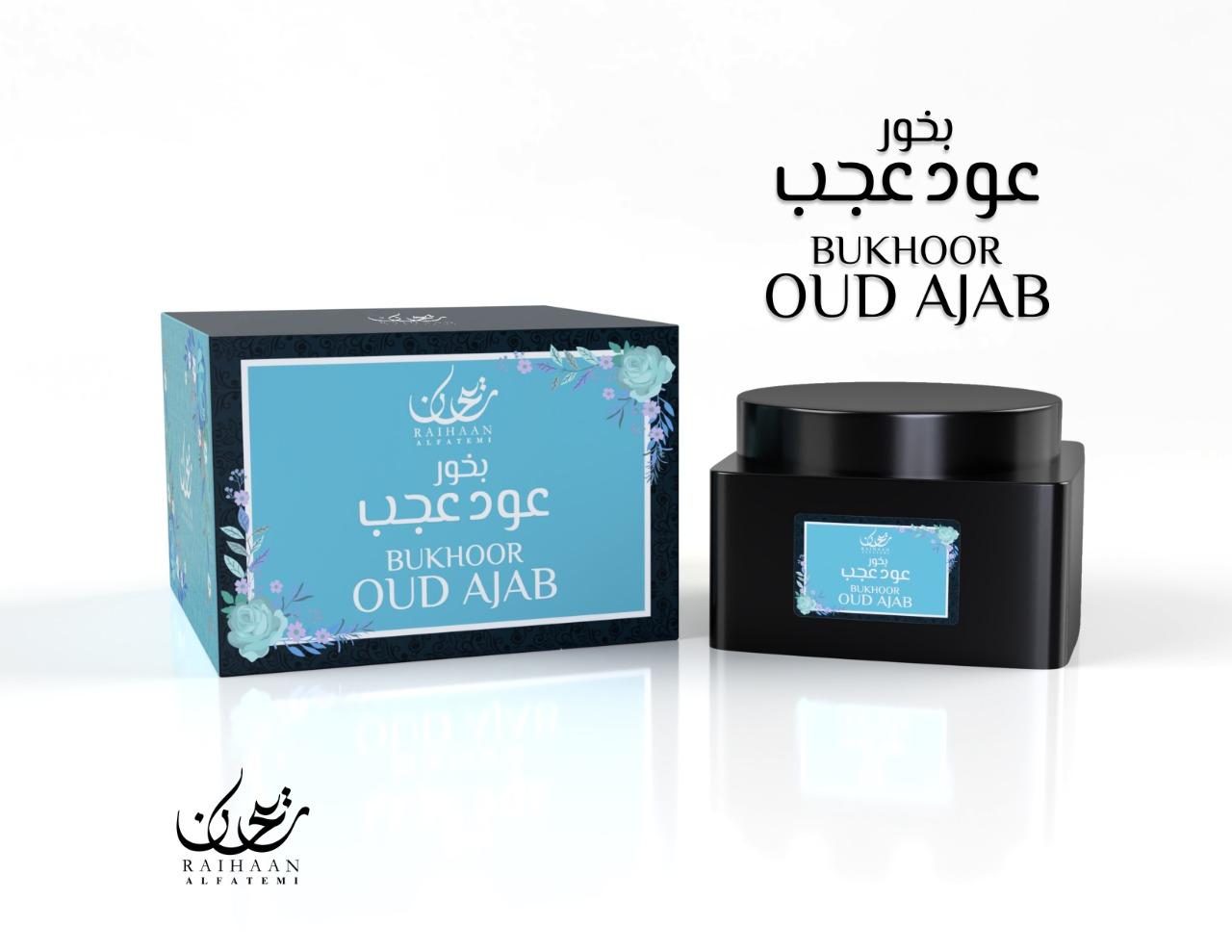 Bukhoor Oud Ajab - Raihan fabriqué à partir de copeaux de bois d'agar naturel et imbibé d'huiles parfumées odorantes. Contenance 70gr