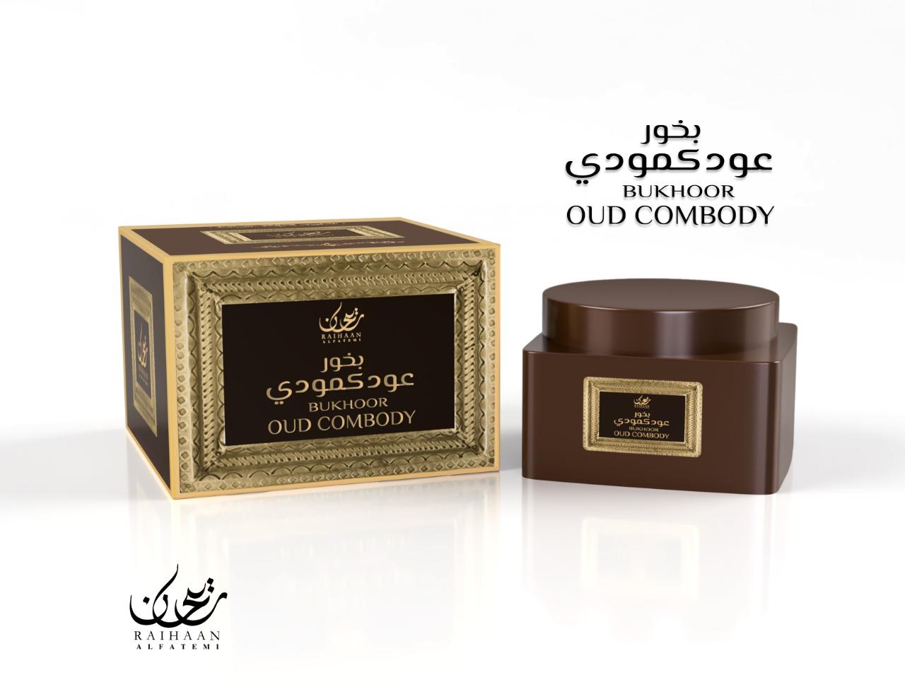 Bukhoor Oud Combody - Raihaan fabriqué à partir de copeaux de bois d'agar naturel et imbibé d'huiles parfumées odorantes.Contenance: 70gr.