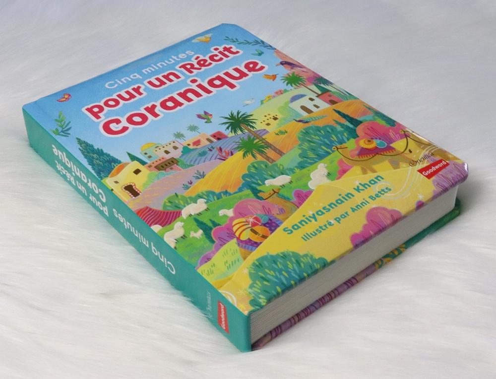 Cinq minutes pour un récit coranique Livre cartonné rembourré avec page cartonnées adapté aux petits enfants.
