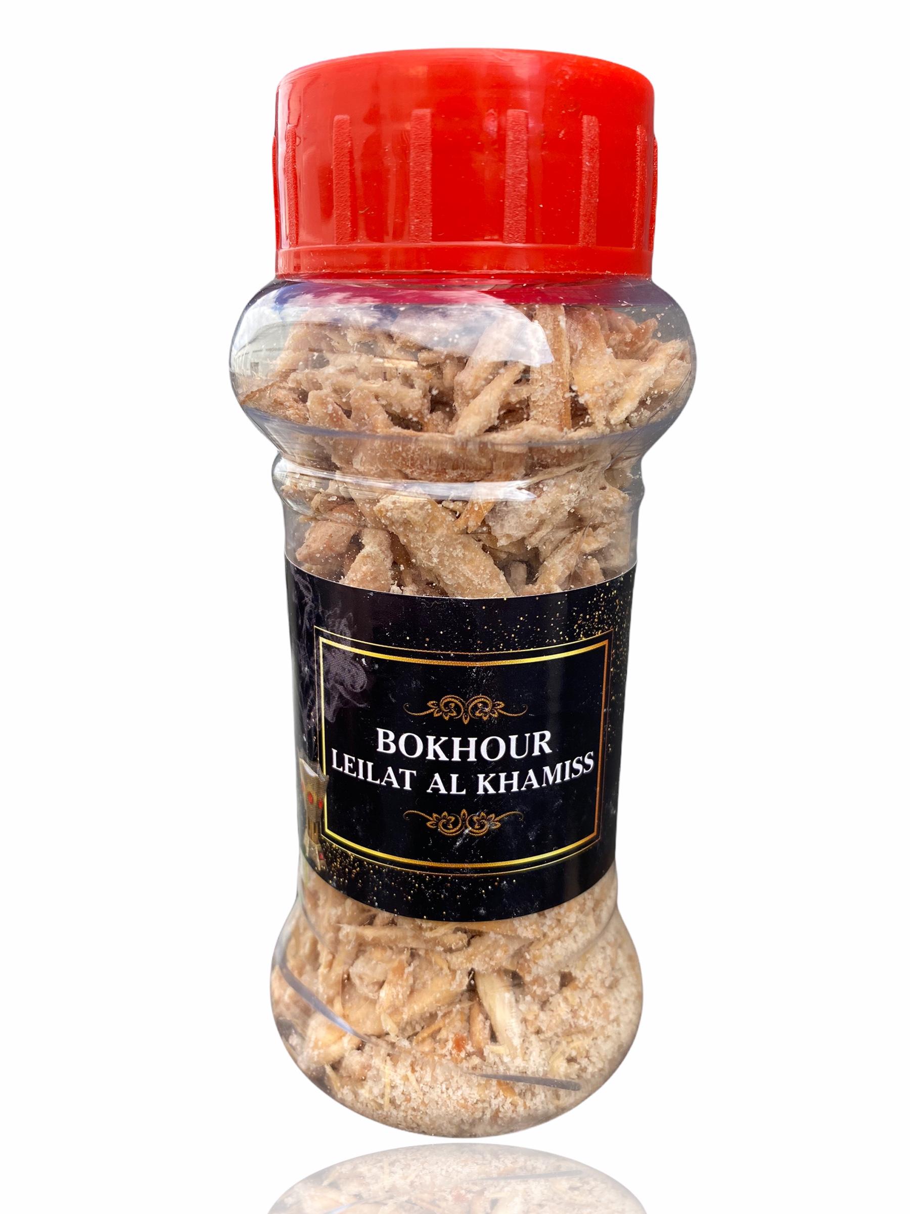 Bokhour Leilat Al Khamiss Encens Oriental avec une très bonne odeur à utiliser avec un encensoir charbon ou alors directement à la poêle. Contenance: 125gr.